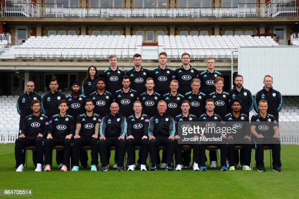 The Surrey CCC team and coaching staff pose in the One Day Cup competition kit during the Surrey CCC Photocall at The Kia Oval on April 4 2017 in...