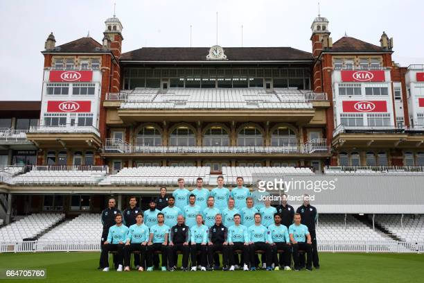 The Surrey CCC team and coaching staff pose in their T20 competition kit during the Surrey CCC Photocall at The Kia Oval on April 4 2017 in London...
