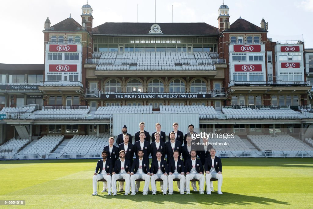 The Surrey County Cricket Club squad pose for their team photocall at The Kia Oval on April 16, 2018 in London, England.