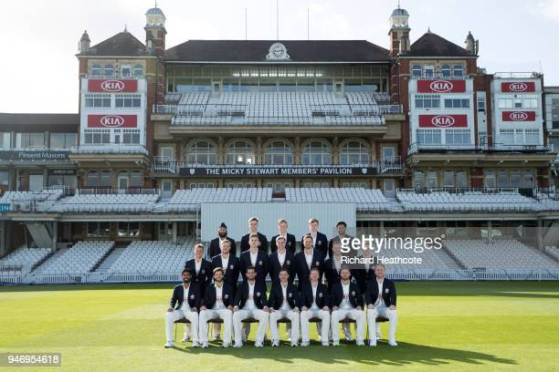 The Surrey County Cricket Club squad pose for their team photocall at The Kia Oval on April 16 2018 in London England