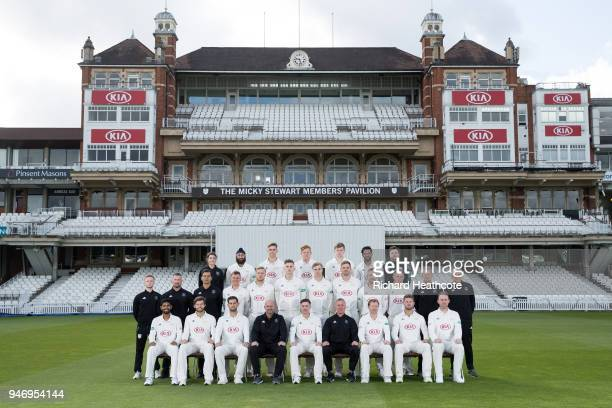 The Surrey County Cricket Club squad pose in County Championship kit at The Kia Oval on April 16 2018 in London England