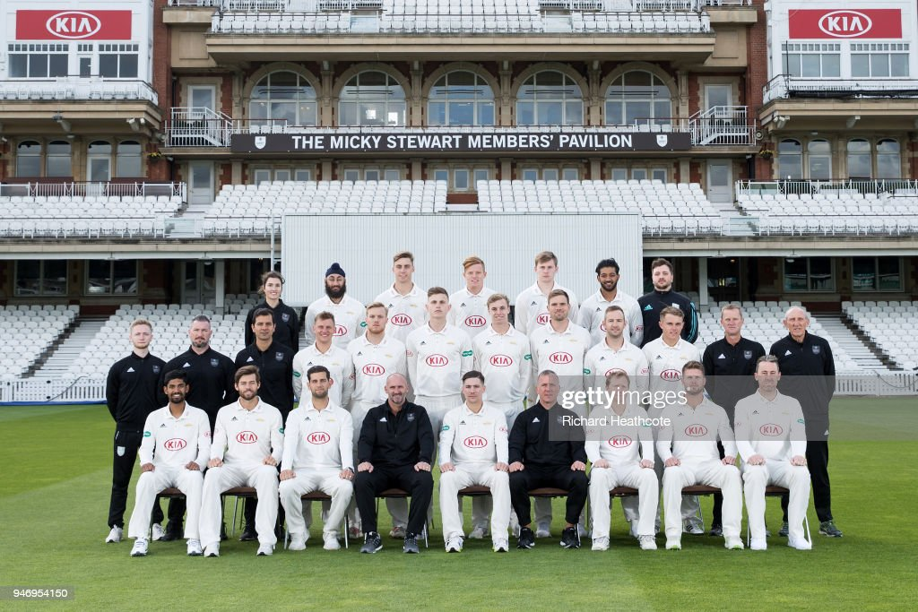The Surrey County Cricket Club squad pose in County Championship kit at The Kia Oval on April 16, 2018 in London, England.