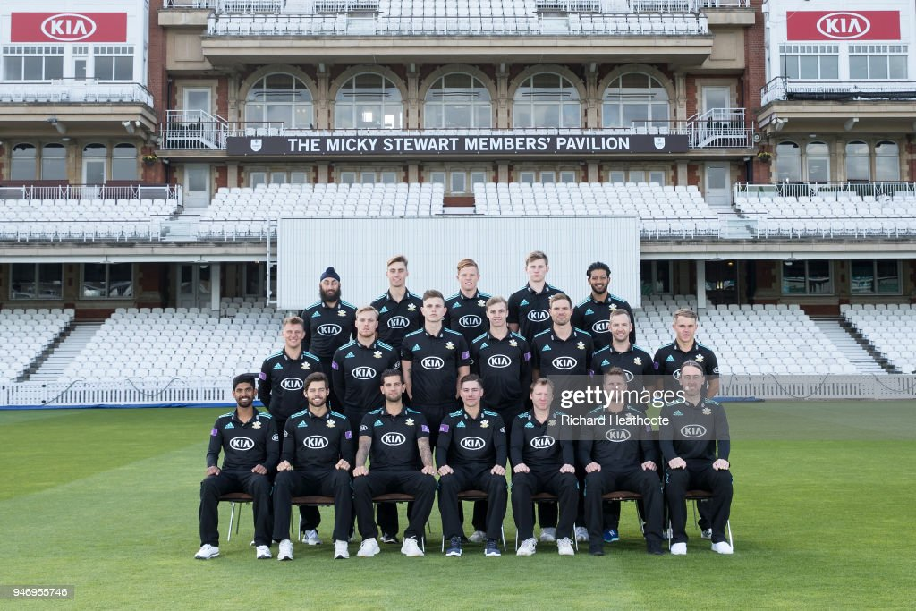 The Surrey County Cricket Club squad pose in One Day kit at The Kia Oval on April 16, 2018 in London, England.