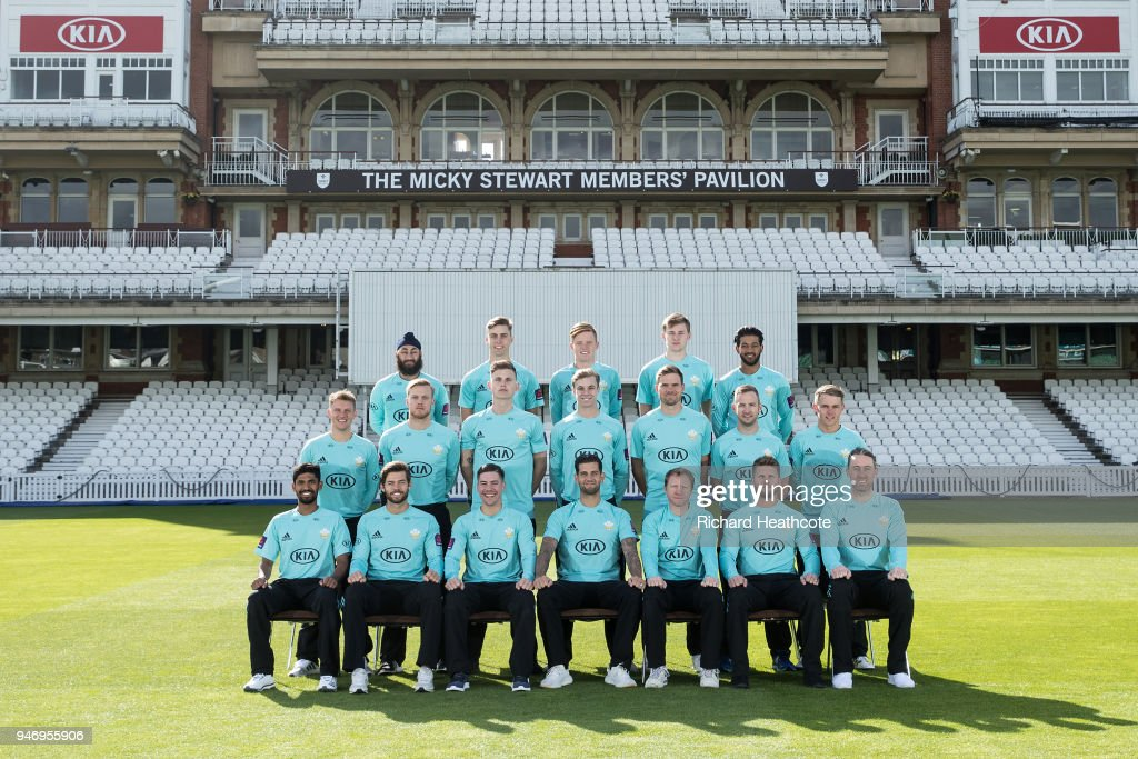 The Surrey County Cricket Club squad pose in T20 kit at The Kia Oval on April 16, 2018 in London, England.