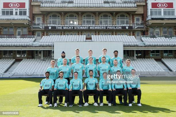 The Surrey County Cricket Club squad pose in T20 kit at The Kia Oval on April 16 2018 in London England