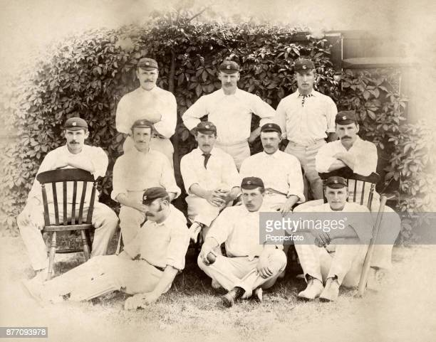 The Surrey County cricket team at The Oval in London prior to their match against Oxford University circa June 1887 Left to right back row John...