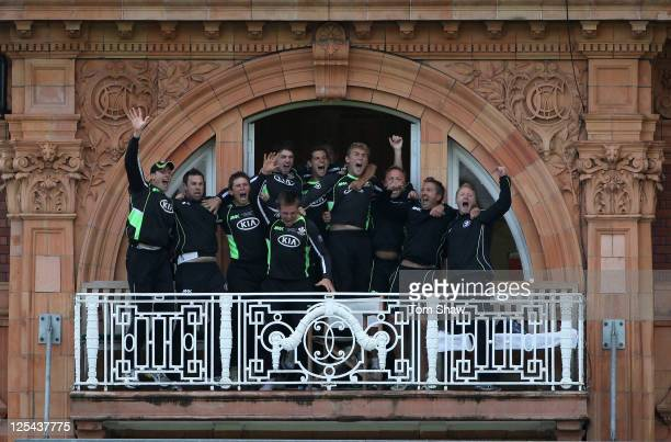 The Surrey team celebrate on the balcony after winning the match during the Clydesdale Bank 40 Final between Surrey and Somerset at Lord's Cricket...
