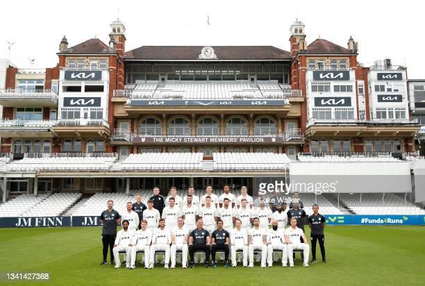 The Surrey team of Bottom row : Ryan Patel, Ollie Pope, Ben Foakes, Rikki Clarke, Alec Stewart, Vikram Solanki, Gareth Batty, Jade Dernbach, Hashim...