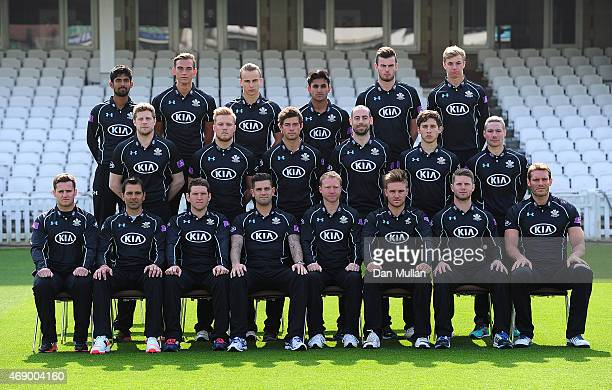 The Surrey Team pose for a team photo in their Royal London One Day Cup kit during the Surrey CCC photocall at The Kia Oval on April 09 2015 in...