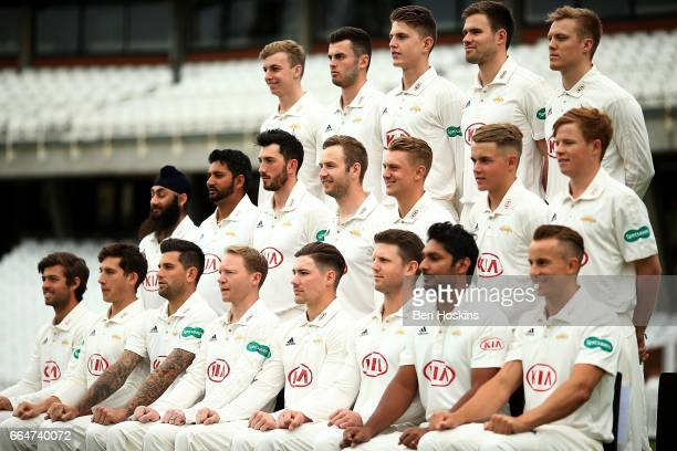 The Surrey team pose for a team picture during the Surrey CCC Photocall at The Kia Oval on April 4 2017 in London England