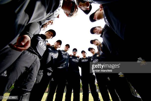 The Surrey Women's team huddle prior to the open of the Women's County Championship match between Surrey Women and Lancashire Women at Guildford...