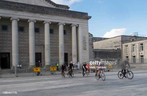 The Survival Tour cycle team Sets off to their next venue during The Survival Tour Bike Ride by #WeMakeEvents at the Southampton O2 Guildhall on...