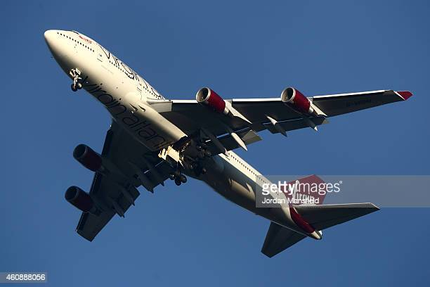The suspected Virgin Atlantic Boeing 747 jumbo jet passenger plane hovers in the sky as it reportedly prepares for a nonstandard landing at Gatwick...