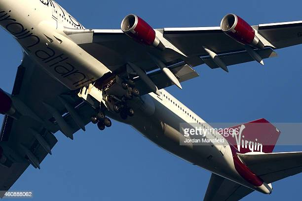 The suspected Virgin Atlantic Boeing 747 jumbo jet passenger plane hovers in the sky as it reportedly prepares for a non-standard landing at Gatwick...
