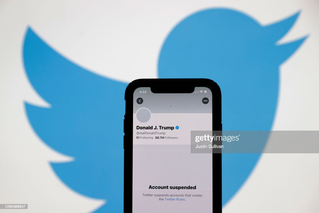 Twitter Permanently Suspends President Donald Trump's Twitter Account : News Photo