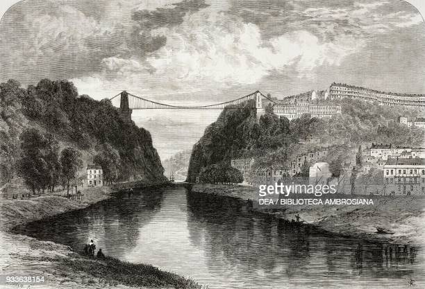 The suspension bridge over the Avon River Clifton United Kingdom illustration from the magazine The Illustrated London News volume XLV December 17...