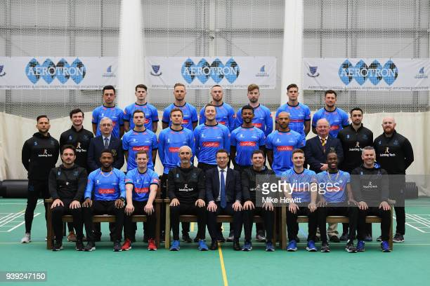 The Sussex squad poses for a team photo in the Vitality Blast T20 kit during a Sussex CCC photocall at The 1st Central County Ground on March 28 2018...