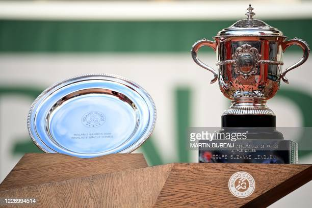 The Suzanne Lenglen trophy is pictured prior to the podium ceremony after Poland's Iga Swiatek won the women's singles final tennis match against...