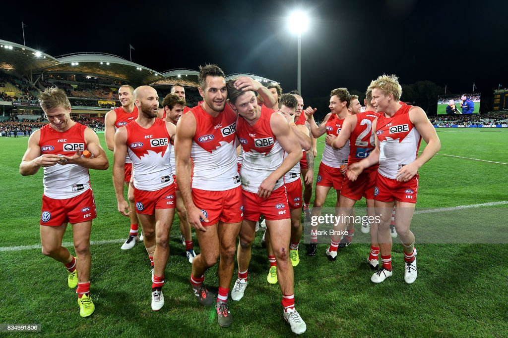 The Swans leave the ground after defeating the Crows during the round 22 AFL match between the Adelaide Crows and the Sydney Swans at Adelaide Oval on August 18, 2017 in Adelaide, Australia.