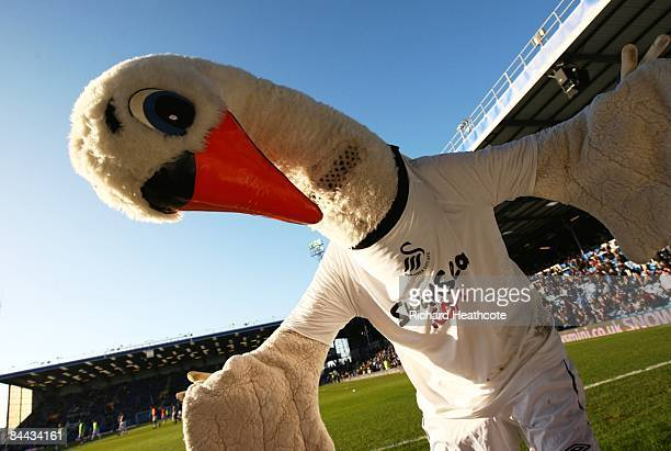 The Swansea mascot poses prior to kickoff during the FA Cup sponsored by E.ON 4th Round match between Portsmouth and Swansea City at Fratton Park on...