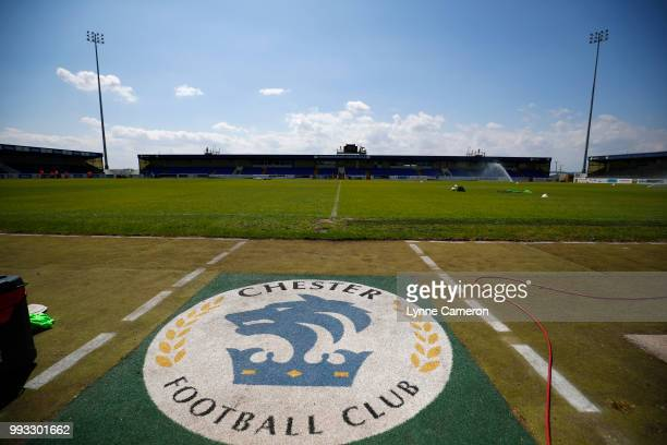 The Swansway Chester Stadium before the Preseason friendly between Chester FC and Liverpool on July 7 2018 in Chester United Kingdom