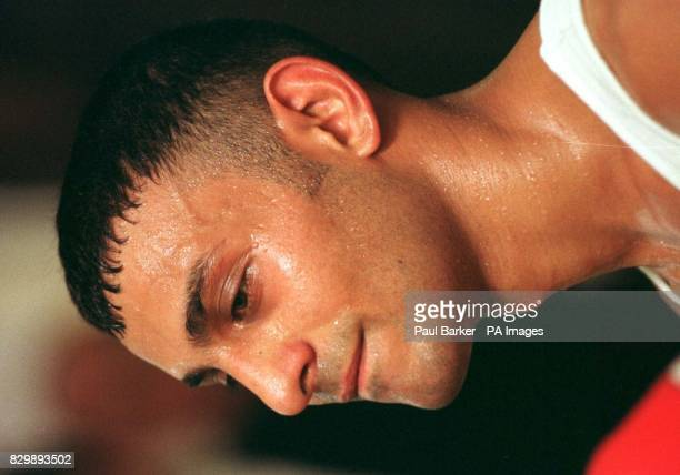 The sweat shows that being a world champion boxer calls for a lot of work as well as great ability as Prince Naseem Hamed trains today in preparation...