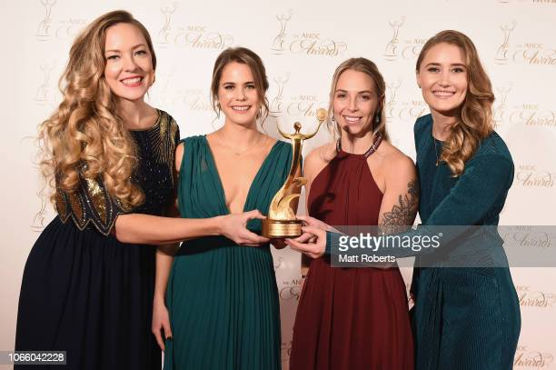 The Sweden Curling of Anna Hasselborg Agnes Knochenhauer Sara McManus and Sofia Mabergs with the ANOC award for Best Female Team of PyeongChang 2018...