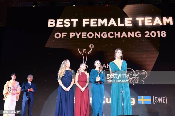 The Sweden Curling of Anna Hasselborg Agnes Knochenhauer Sara McManus and Sofia Mabergs is awarded the ANOC award for Best Female Team of PyeongChang...
