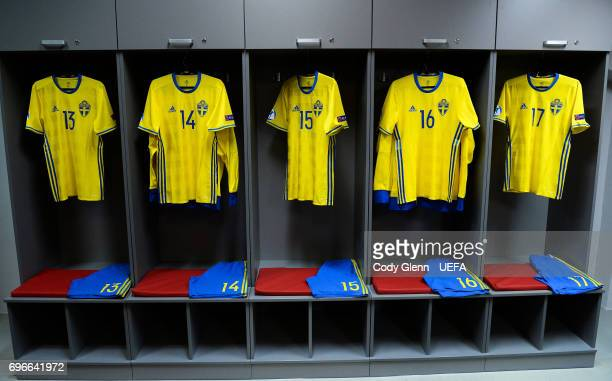 The Sweden dressing room ahead of the UEFA European Under21 Championship match between Sweden and England at Kielce Stadium on June 16 2017 in Kielce...