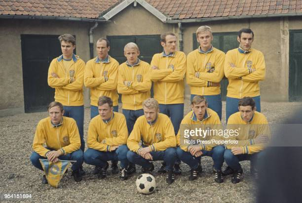 The Sweden national football team line up before a training session in Stockholm Sweden on 9th January 1970 The Sweden team have qualified for the...