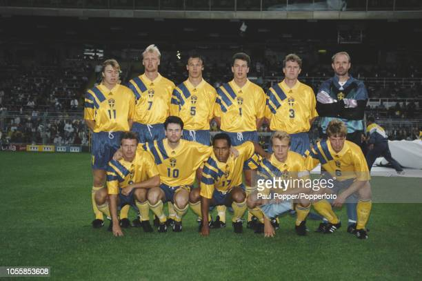 The Sweden national team line up together prior to competing in a UEFA Euro 1992 Championship tournament match in Sweden in June 1992 The team are...