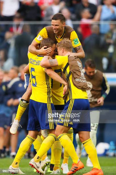 The Sweden players celebrate at the end of the 2018 FIFA World Cup Russia Round of 16 match between Sweden and Switzerland at Saint Petersburg...