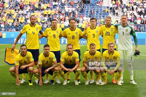 The Sweden players line up for a team photo prior to the 2018 FIFA World Cup Russia Round of 16 match between Sweden and Switzerland at Saint...