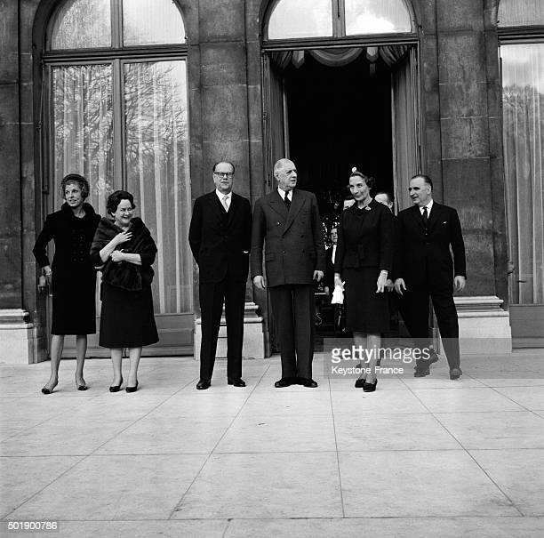 The Sweden Prime Minister Tage Erlander With President Charles de Gaulle And Prime Minister Georges Pompidou After A Meeting And An Official Lunch At...