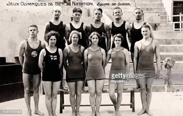 The Sweden swimming team, during the Summer Olympic Games in Paris, circa July 1924.