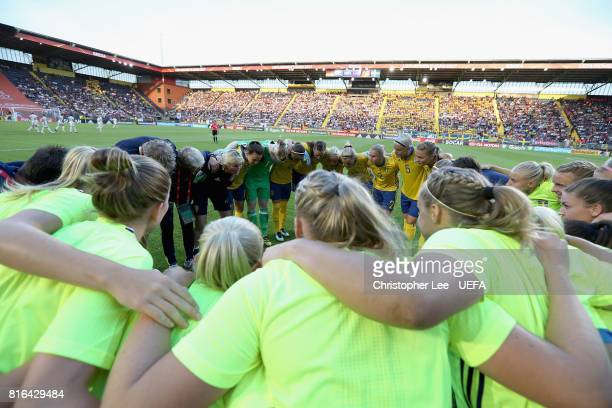 The Sweden team group huddle before kick off during the UEFA Women's Euro 2017 Group B match between Germany and Sweden at Rat Verlegh Stadion on...