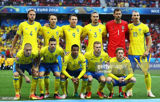 The Sweden team line up ahead of the UEFA EURO 2016 Group E match between Sweden and Belgium at Allianz Riviera Stadium on June 22 2016 in Nice France