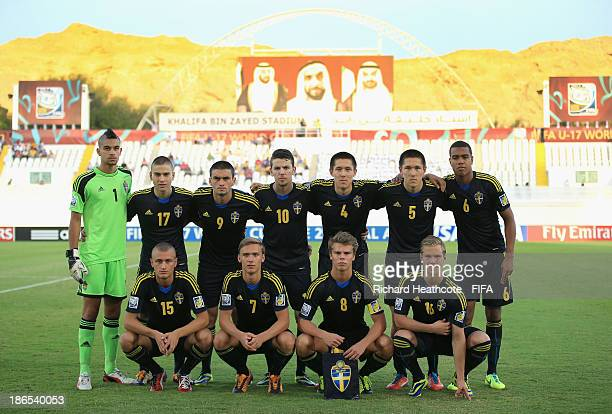 The Sweden team line up during the FIFA U17 World Cup UAE 2013 Quarter Final match between Honduras and Sweden at the Khalifa Bin Zayed Stadium on...