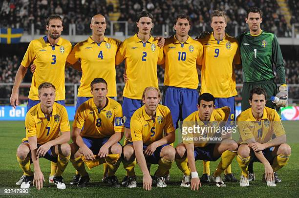 The Sweden Team line up during the international friendly match between Italy and Sweden at Dino Manuzzi Stadium on November 18 2009 in Cesena Italy