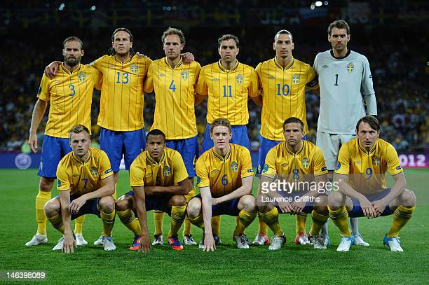 The Sweden team line up during the UEFA EURO 2012 group D match between Sweden and England at The Olympic Stadium on June 15 2012 in Kiev Ukraine