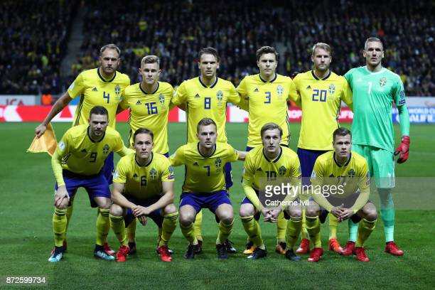 The Sweden team line up prior to the FIFA 2018 World Cup Qualifier PlayOff First Leg between Sweden and Italy at Friends arena on November 10 2017 in...