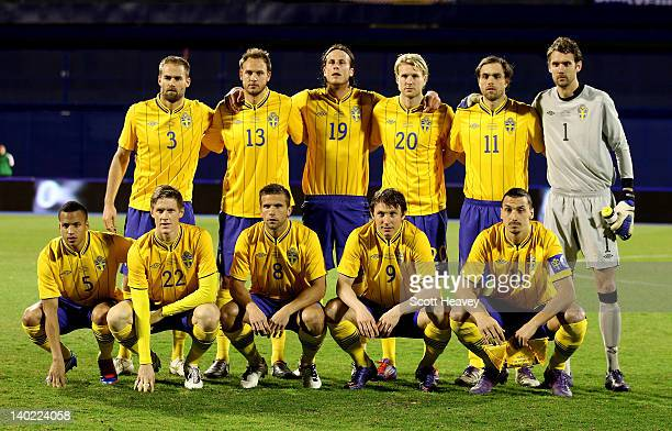 The Sweden team lineup Back Row L to R Olof Mellberg Andreas Granqvist Jonas Olsson Ola Toivonen Johan Elmander Andreas Isaksson Front Row L to R...