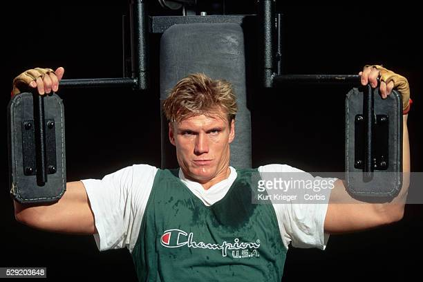 The Swedish actor Dolph Lundgren star of Rocky IV Cover Up and Universal Soldier works out on equipment in Munich Germany