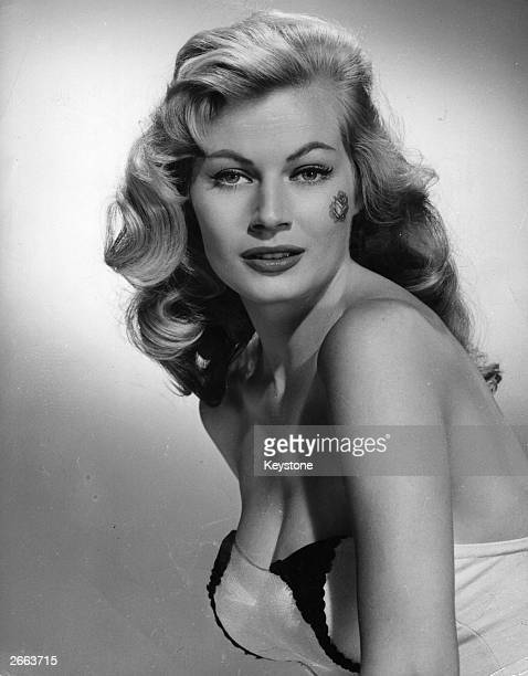 The Swedish actress Anita Ekberg known as 'The Iceberg' wearing the latest Hollywood craze a rose on the cheek The Hollywood film 'The Rose Tattoo'...