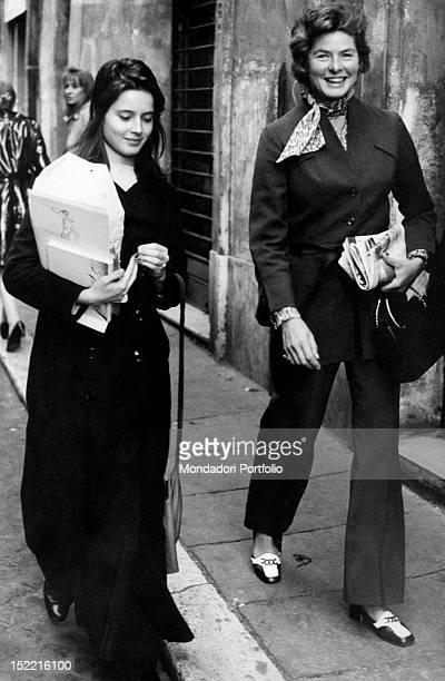 The Swedish actress Ingrid Bergman taking a stroll with her daughter Isabella Rossellini Rome 1971