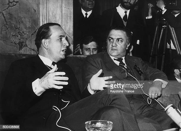 The Swedish and Italian film directors Ingmar Bergman and Federico Fellini talking during a press conference on January 07 1969 in Rome Italy