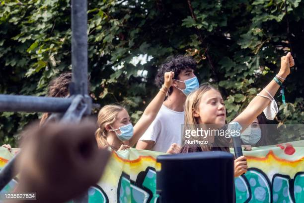 The Swedish climate activist Greta Thunberg partecipate to Fridays for Future Student strike held in Milan, Italy, on October 1, 2021. The event took...