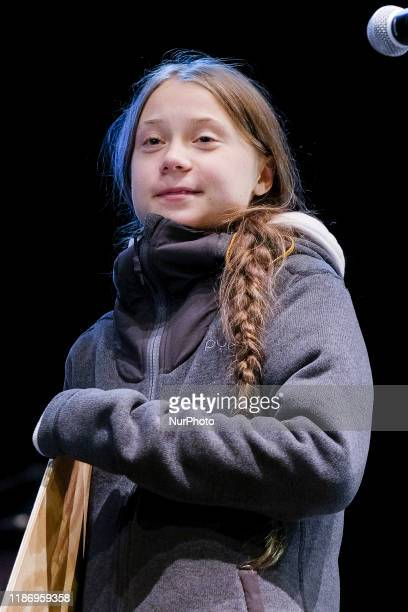 The Swedish climate activist Greta Thunberg speaks at the climate march during the COP25 UN Climate Conference 2019 The demonstrators want to call on...