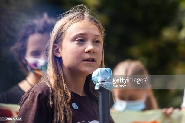 The Swedish climate activist Greta Thunberg speaks during a Fridays for Future Student strike. The event took place during the Pre-COP Event in Milan...
