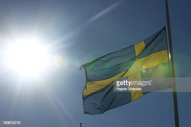 The Swedish flag flies at half mast during the funeral of Princess Lilian Of Sweden on March 16 2013 in Stockholm Sweden
